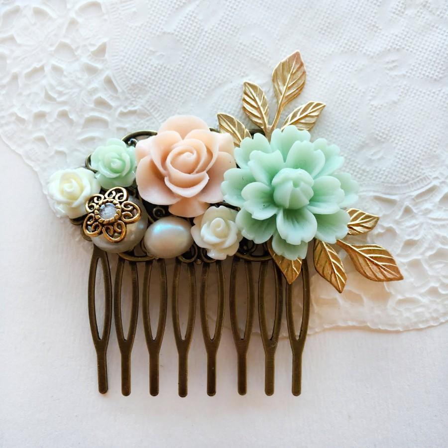 Свадьба - Romantic Wedding Hair Comb Bridal Hair Clip Gold Leaves Pastel Blush Mint Green Floral Bridesmaid Hair Slide Gift Chintz Elegant Chic Boho