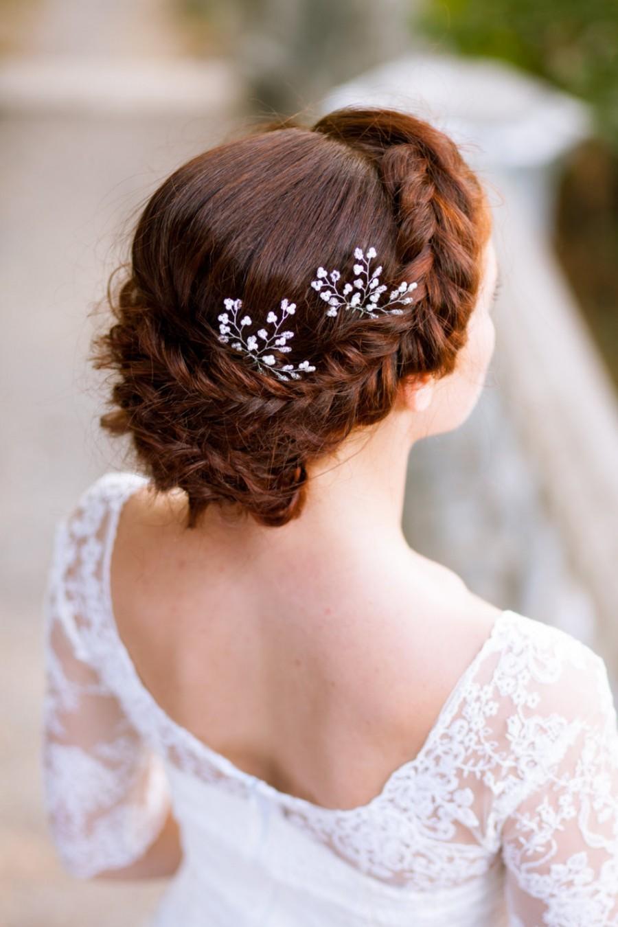 Bridal hair accessories babys breath - Bridal Pearl Hair Pins Babys Breath Hair Pins Wedding Pearl Hair Pins Bridal Headpiece Silver Bridal Hair Pins Set Of Two Bridal Hair Pins