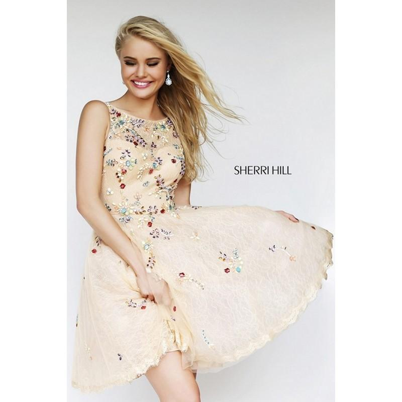 Wedding - Sherri Hill 4305 Prom Dress - Short and Cocktail Scoop A Line Cocktail Sherri Hill Dress - 2017 New Wedding Dresses