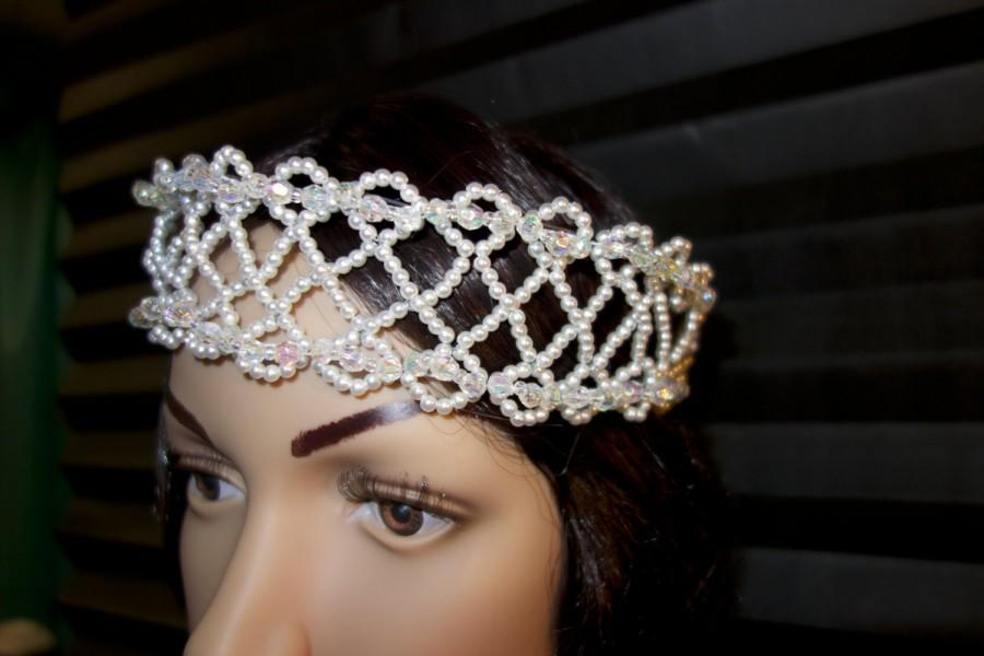 زفاف - Pearls and Crystals Tiara.