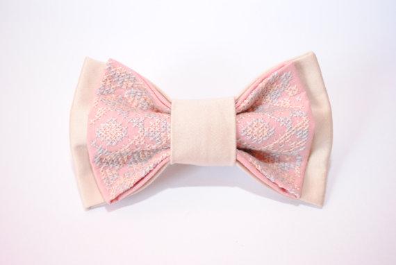 Wedding - Blush wedding Pale pink bow tie Blush pocket square Wedding bowtie Groom Groomsmen Blush cuff links for men with style Pink handkerchief Men