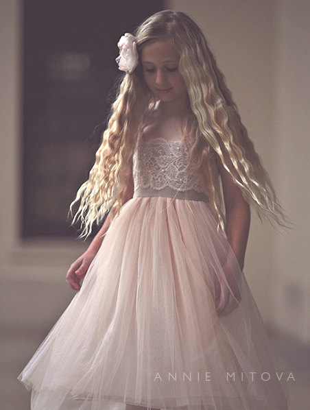 Mariage - NEW LACES  Magic Orchid French lace and silk tulle dress for baby girl Flower girl dress blush princess dress tutu dress