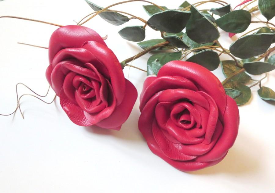 Wedding - 3rd Anniversary Gift-Red  Leather Rose- leather  flower - Long Stem Flower