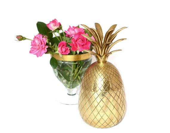 Mariage - Gold Wedding Pineapple Box Brass Pineapple Box Pineapple Wedding Decor Gold Wedding Decor