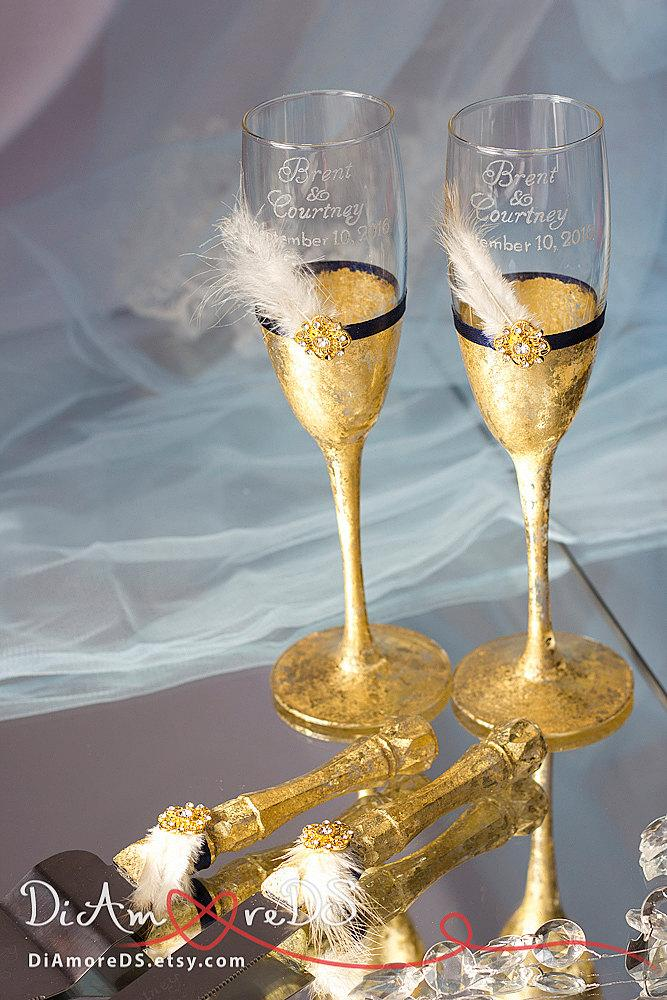 Gold Wedding Champagne Flutes Set For Cake Gatsby Personalized