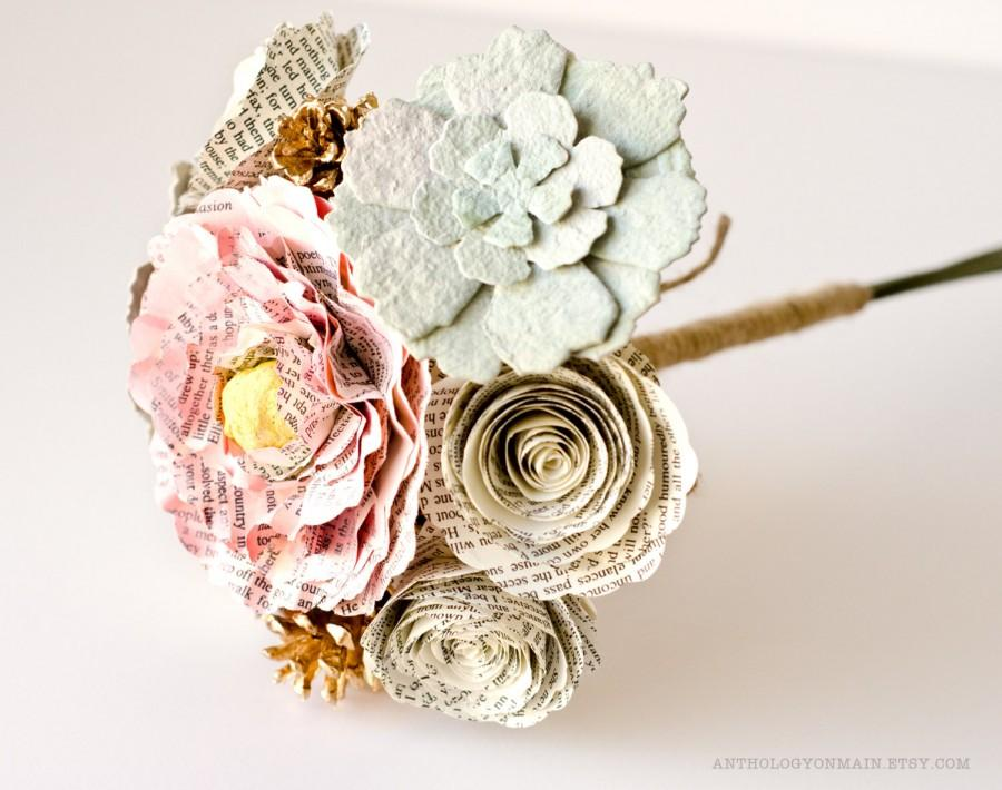 Свадьба - Toss Bouquet, Flower Girl Bouquet or Bridesmaid Bouquet with Peonies, Roses, Succulents and Pinecones - IN YOUR COLORS - Jane Austen Wedding