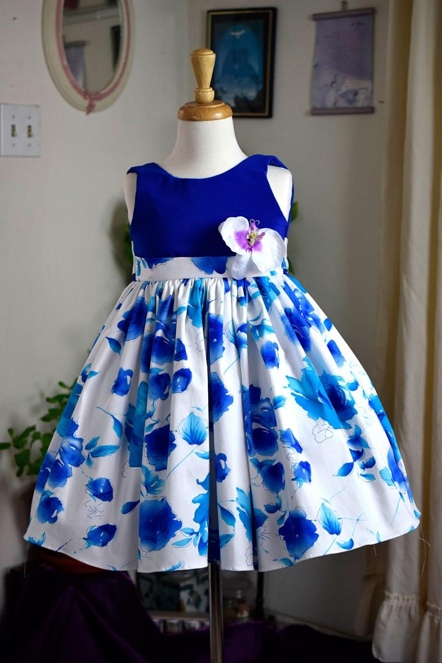 Mariage - Flower Girl Navy and White, with Flower Patter Multi Layer Dress (0015)