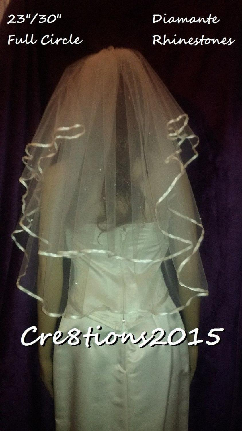 Mariage - Ivory wedding veil Satin edged with Diamante rhinestones 23 and 30 inch Elbow length full circle style veil. FREE UK POSTAGE