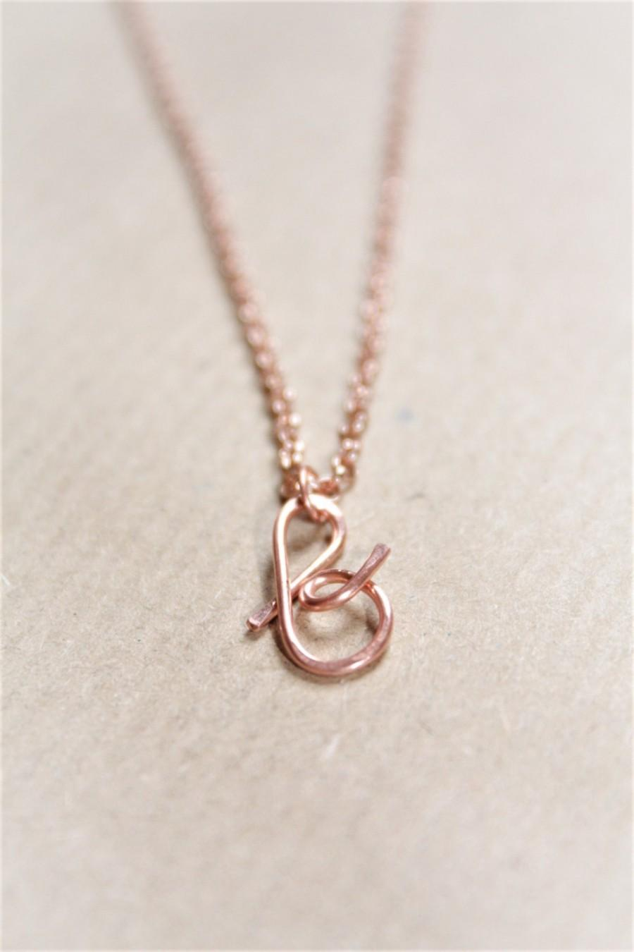 Wedding - Letter B Necklace, Rose Gold Initial Necklace, Cursive Letter Necklace, Lowercase Initial Necklace, Personalized Necklace, Di & De
