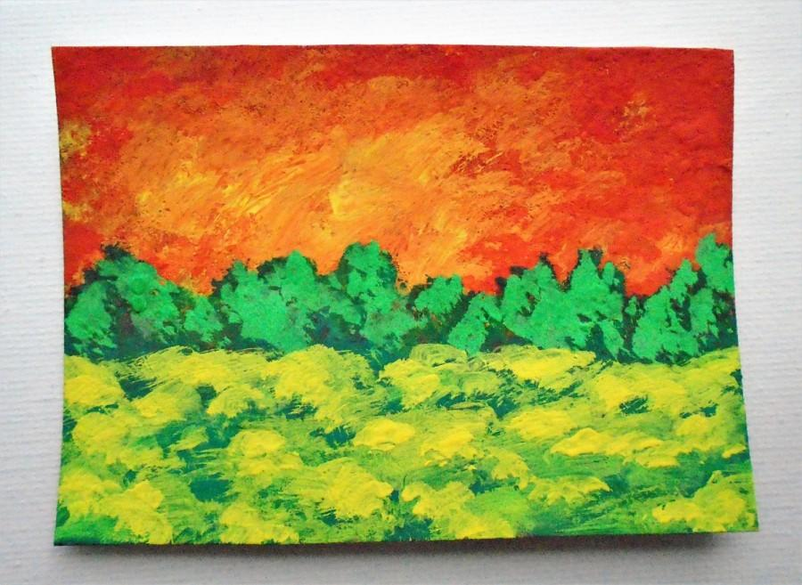 "Wedding - Sunset Meadow #213 (ARTIST TRADING CARDS) 2.5"" x 3.5"" by Mike Kraus Free Shipping"