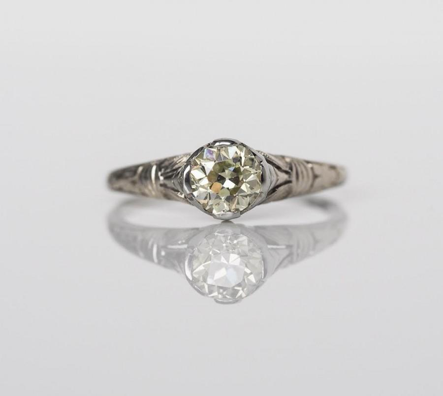 Свадьба - Edwardian 18K White Gold ORANGE Blossom Engagement Ring with GIA certified .65ct Light Yellowish Old European Cut Diamond - VEG#483