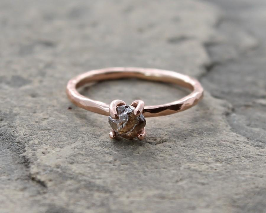 Mariage - raw cacao color diamond ring w/ 14k rose, white or yellow gold, conflict free, rough diamond, brown, alternative engagement, made to order