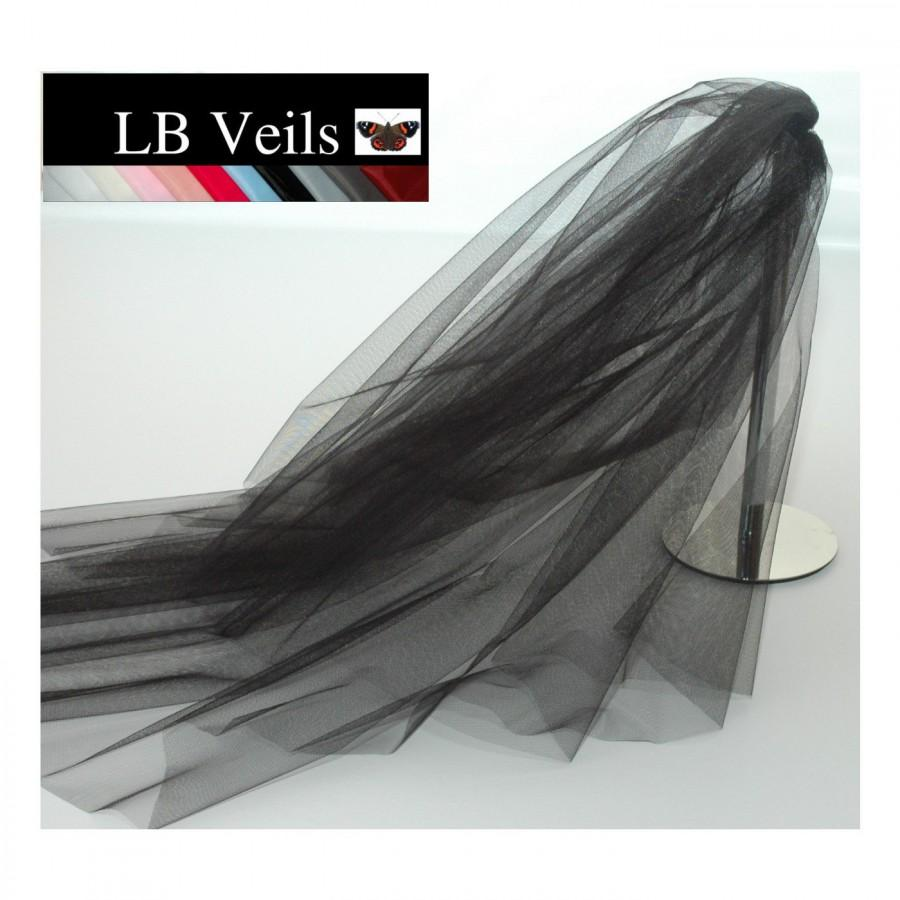 Mariage - Designer Black Wedding Veil Any Length 2 Tier  LBV156 LB Veils UK