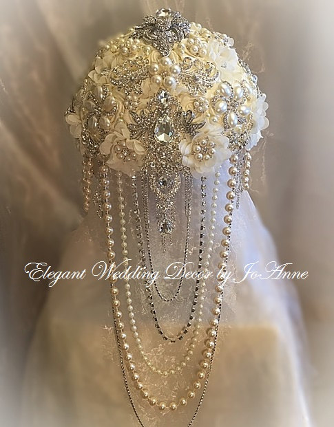 Mariage - CASCADING BROOCH BOUQUET, Ivory and Silver Bouquet, Custom Brooch Bouquet with Draping Pearls, Brooch Bouquet, Jeweled Bouquet, Deposit Only