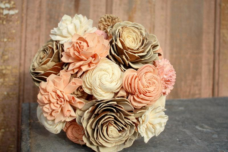 Sola Flower Bouquet, Brides Wedding Bouquet, Champagne, Rose Gold ...
