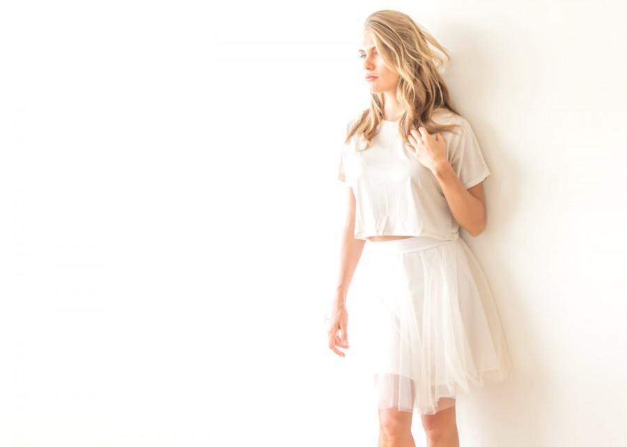 Mariage - Mini length tulle Champagne skirt, Bridesmaids tulle skirt 3004