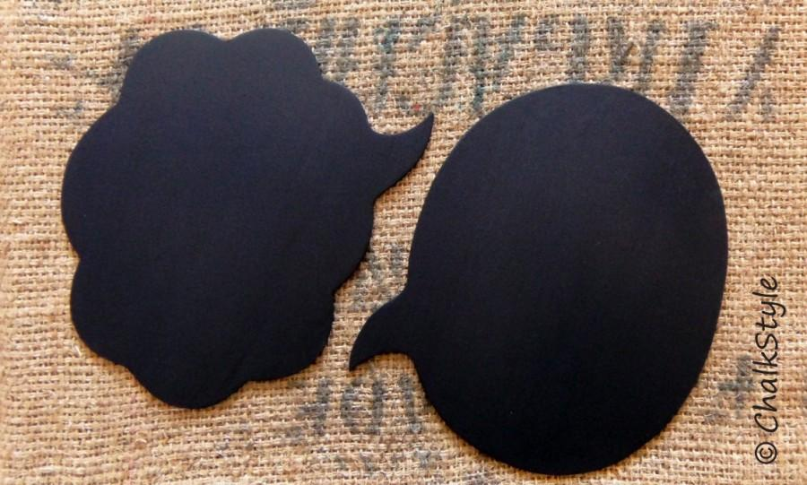 Mariage - 2 Large  Chalkboard Speech Bubbles  -- You Choose the Shapes -- Sturdy Wooden Chalkboards for Wedding Photo Booth, Engagement Photos