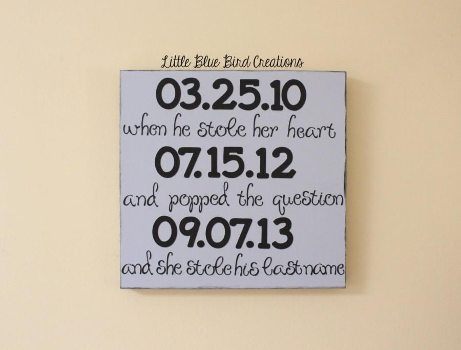Mariage - Special dates wooden sign - wedding shower gift - baby shower - personalized wood sign - valentines day