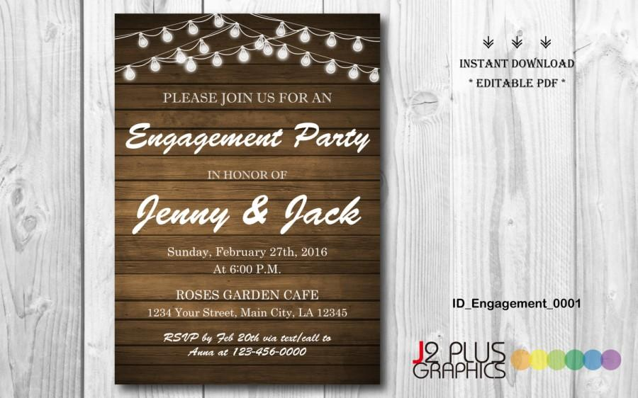 INSTANT DOWNLOAD Engagement Invitation, Rustic Lights Engagement Party  Invitation Printable, Invites Template Instant Download Editable Pdf  Invites Template