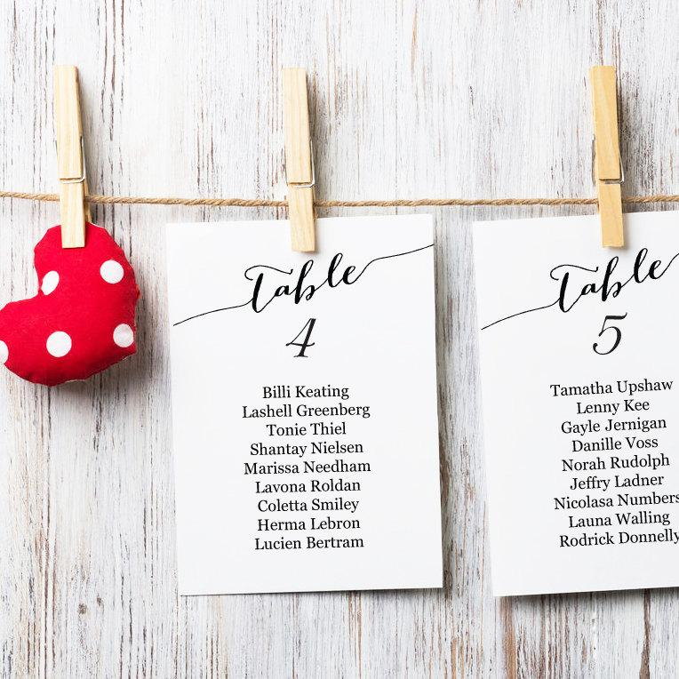 Table Seating Cards Template 1 40 Wedding Chart Diy Sizes 4x6 And 5x7 Plan Printable