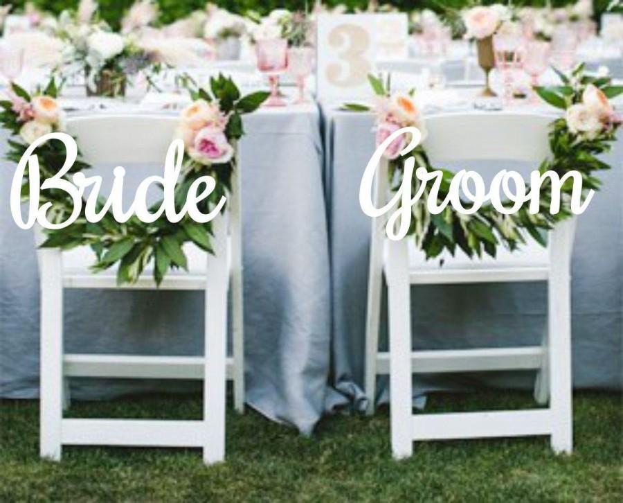 Свадьба - Wedding Decor.Chair Signs. Bride and Groom Chair Signs.