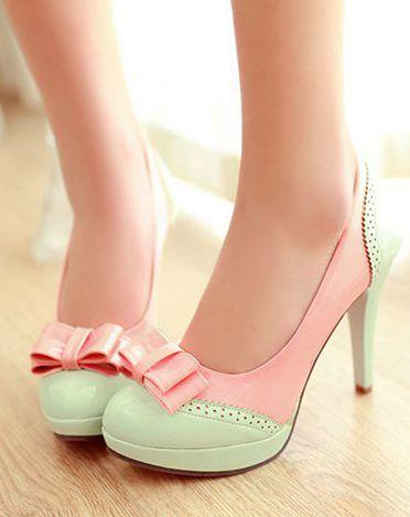Mariage - Details About Ladies Lolita Bow Sweet Candy Platform High Heel Leather Pumps Shoes Plus Size 9