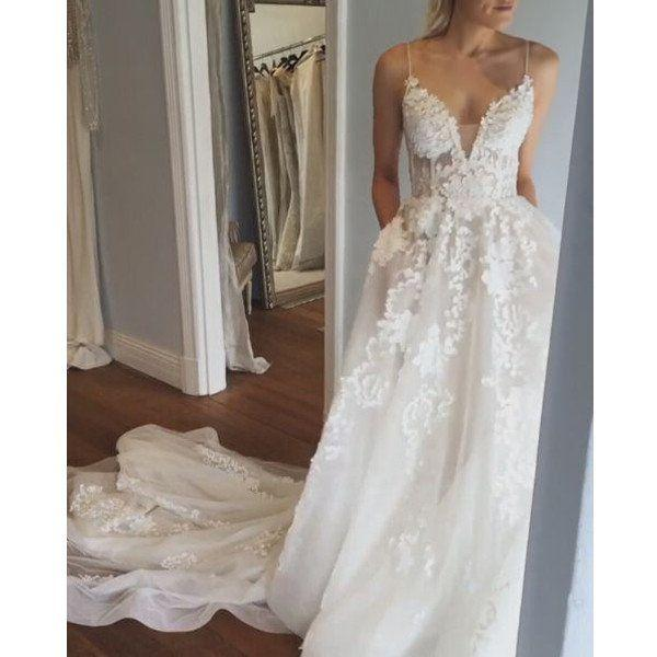 Mariage - Applique Sexy Online V Neck Ivory Fashion Long Prom Wedding Dresses, BG51501 - US0 / Picture Color