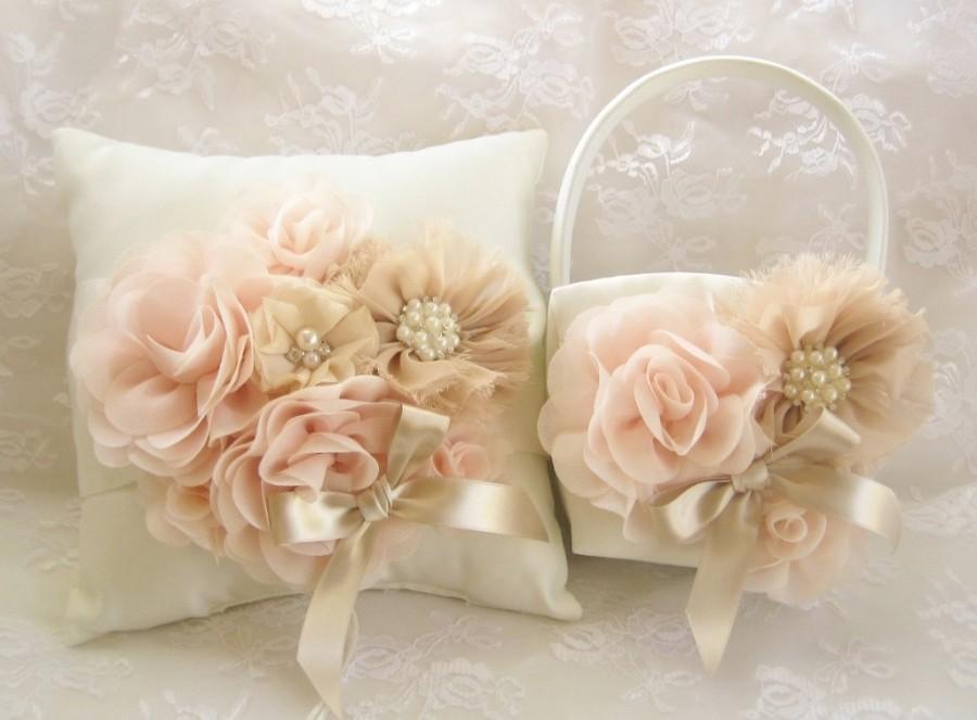 Свадьба - Champagne Flower Girl Basket Ring Bearer Pillow, Champagne Blush Flower Girl Basket Set Hand-Dyed Flowers Wedding Pillow Elegant and Classic