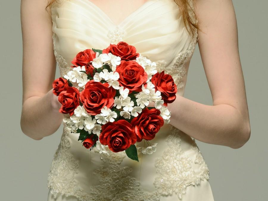 Свадьба - Red Rose Paper Wedding Bouquet  with Snowball Flower accents