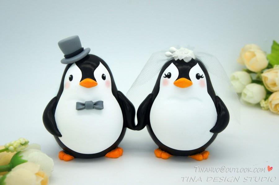 Mariage - Custom Love Bird Penguin Wedding Cake Toppers-Unique Bride And Groom Penguin Cake Topper