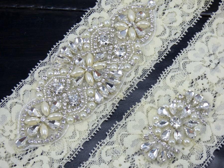 Mariage - Grace Rhinestone Wedding Garter, Ivory Lace Wedding Garter, Crystal Bridal Garter, Keepsake Garter, Toss Garter, Wedding Garter Set