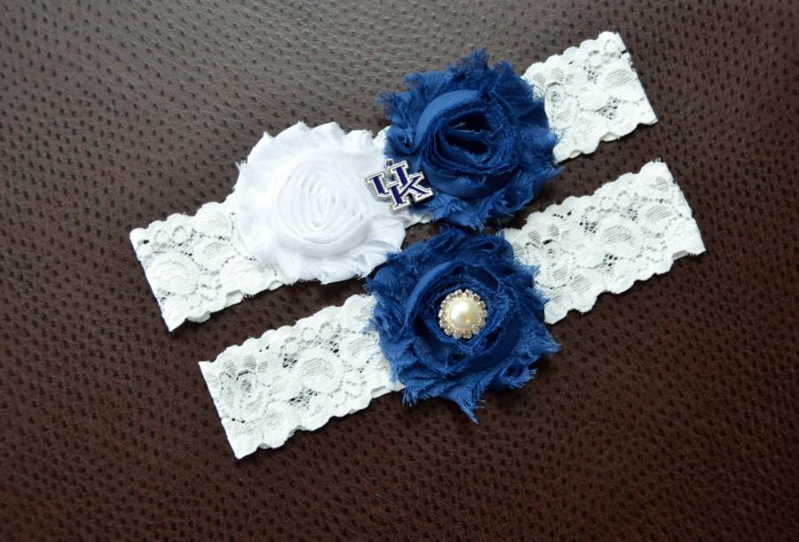Wedding - Kentucky Wildcats Wedding Garter Set, UK Wildcats Garter, Kentucky Wildcats Bridal Garter, White Lace Garter, University of Kentucky Garter