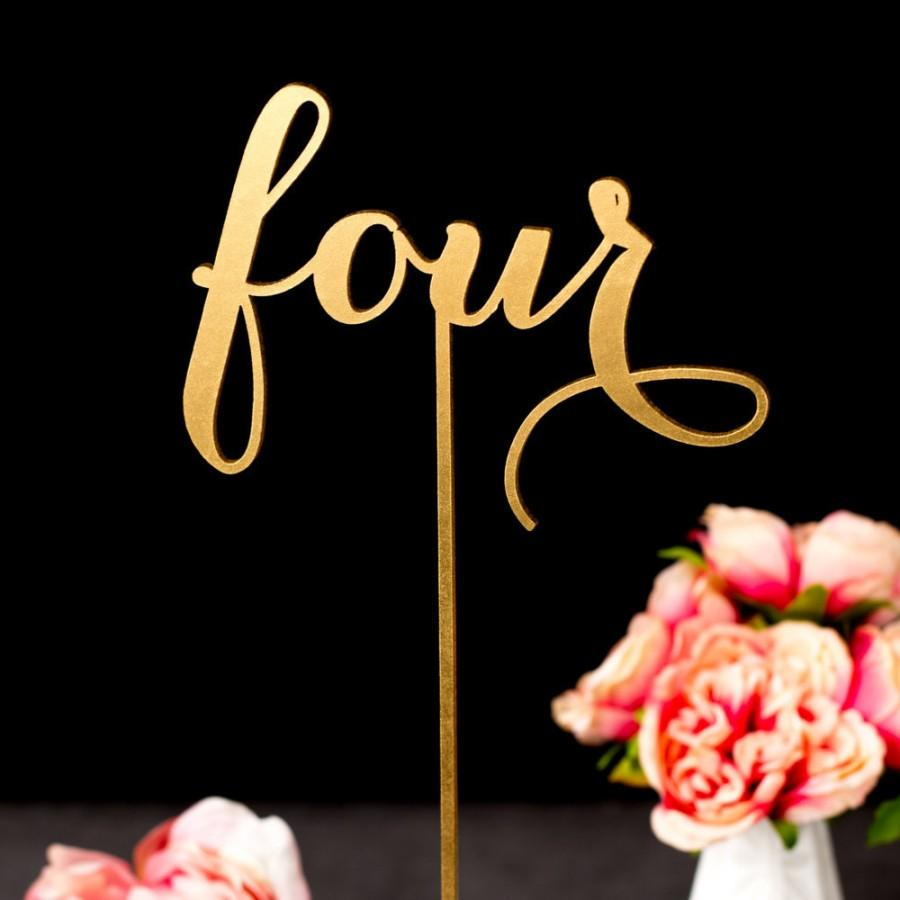 Wedding - Gold Wedding Table Numbers - Freestanding with base - Wedding Table Numbers in Rose Gold - Soirée Collection