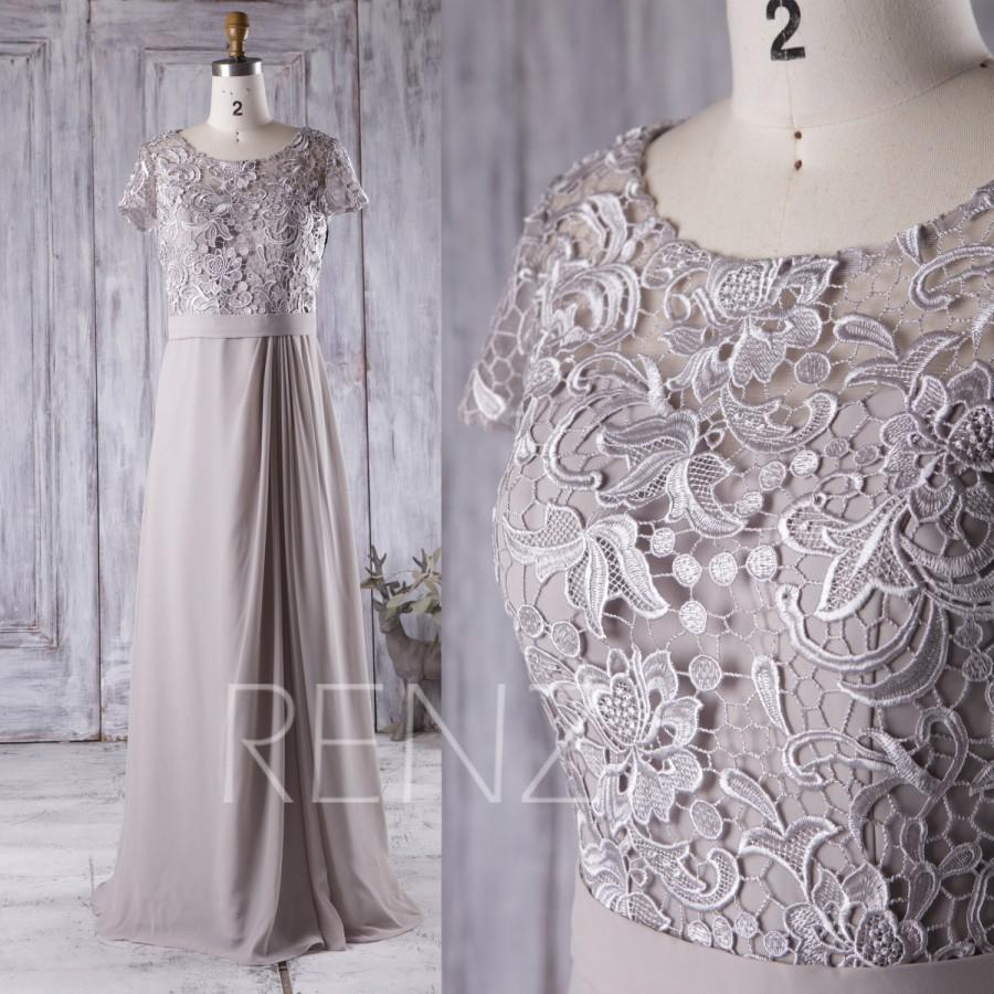 2016 light gray bridesmaid dress long dress lace illusion for Light grey wedding dress