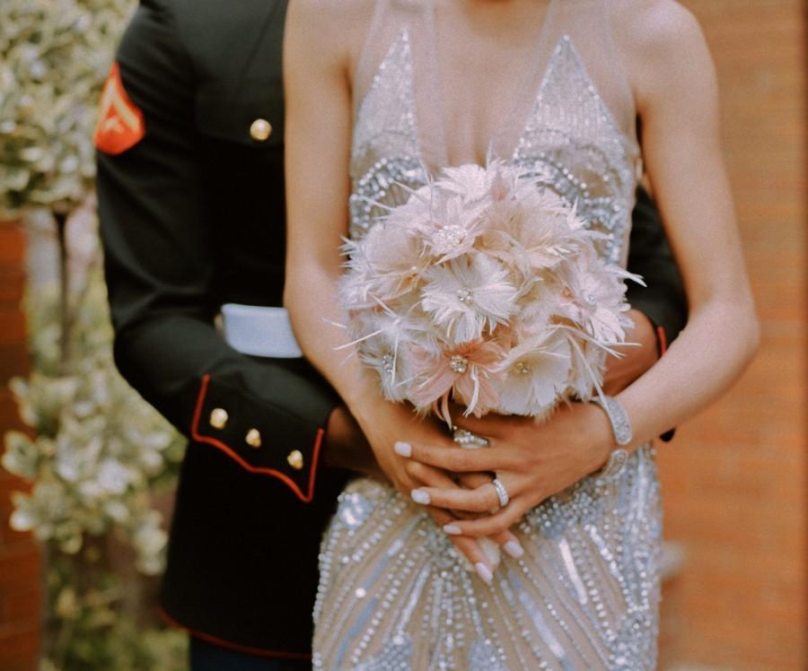 Bridal Bouquet Feather Wedding Bouquet Blush Bouquet Vintage