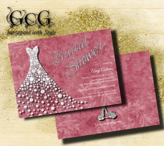 Wedding Gown Invitation Bridal Shower Dress Invite Diamond Printable