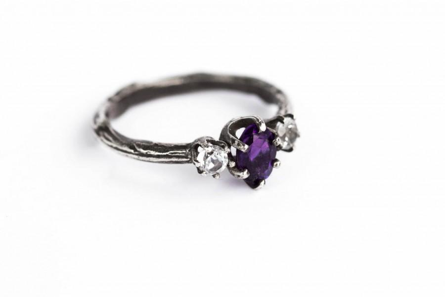 Свадьба - Amethyst and white topaz twig engagement ring, twig engagement ring, sterling silver amethyst ring