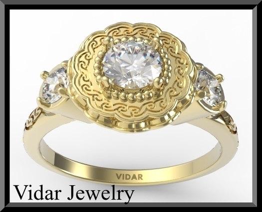 Свадьба - Flower Engagement Ring,Sapphire Engagement Ring,Diamond Engagement Ring,Unique engagement - Halo - White, Pave ,Weddings,Luxury,Brides,gold