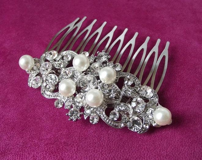 Wedding - swarovski wedding hair comb, pearl crystal hair comb, bridal hair comb, crystal wedding hair piece, rhinestone hair comb, pearl bridal comb