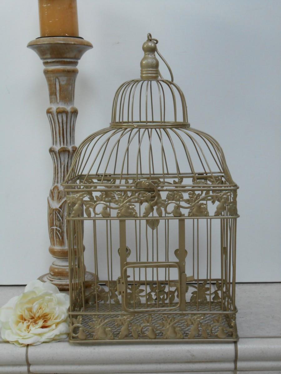 Mariage - Large Champagne Gold Wedding Birdcage Card Holder / Wedding Card Box / DIY Wedding / Wedding Supplies / Home Decor