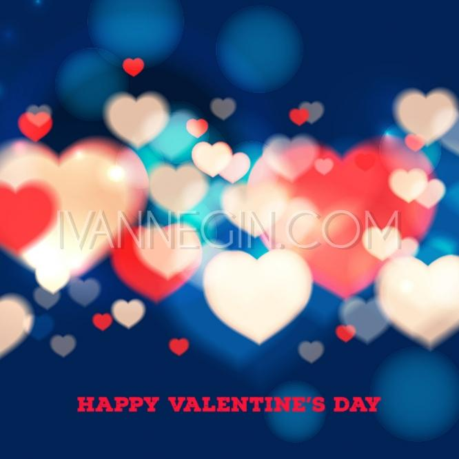 Happy Valentines Day Card With Blurred Hearts On Blue ...
