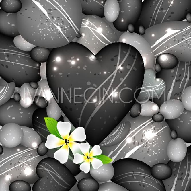 Wedding - Sea water and pebbles stones with flowers, vector illustration - Unique vector illustrations, christmas cards, wedding invitations, images and photos by Ivan Negin