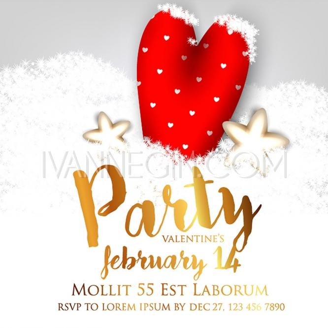 Valentine S Day Party Invitation With Gift Box Snow And Heart
