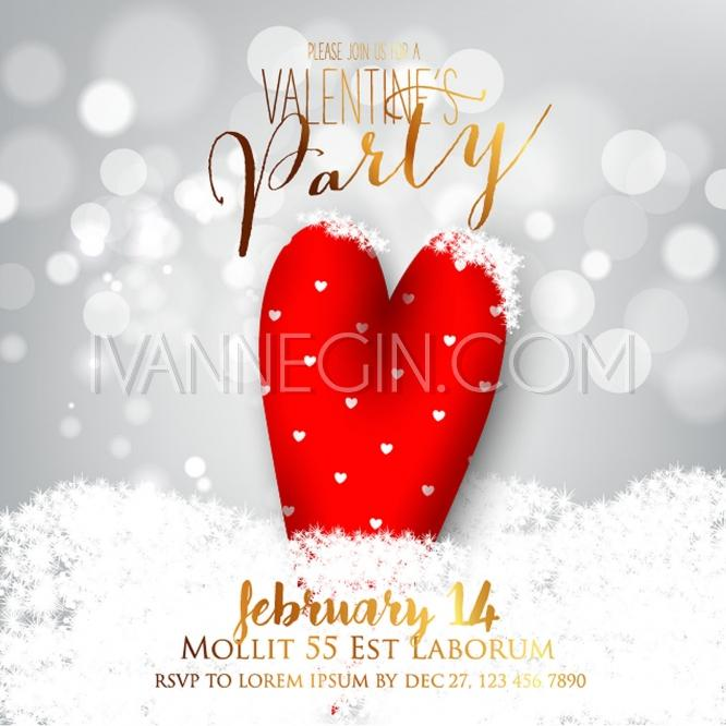 Valentine S Day Party Invitation With Gift Box Snow And