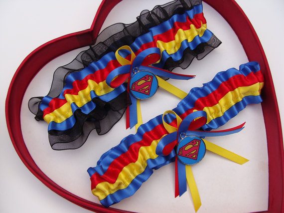 Wedding - New Handmade Superman Wedding Garter Red Yellow Blue Black Prom Garters Homecoming Dance Superhero Wedding Garter Set