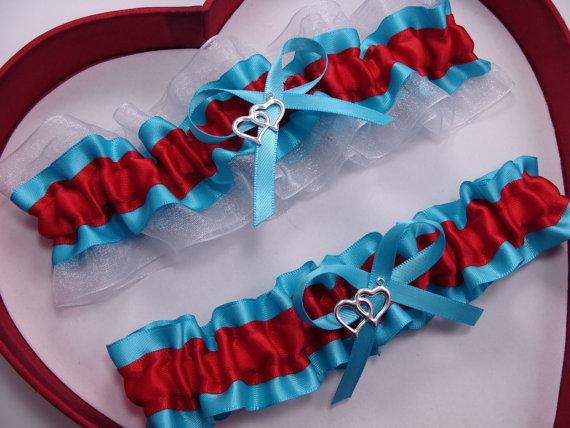 Свадьба - Wedding Garters RED Turquoise White Set Keepsake Toss Plus Size Regular size Wedding Garters Prom