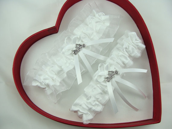 Mariage - New White Harley Wedding Garters Prom Homecoming Dance Motorcycle Born To Ride