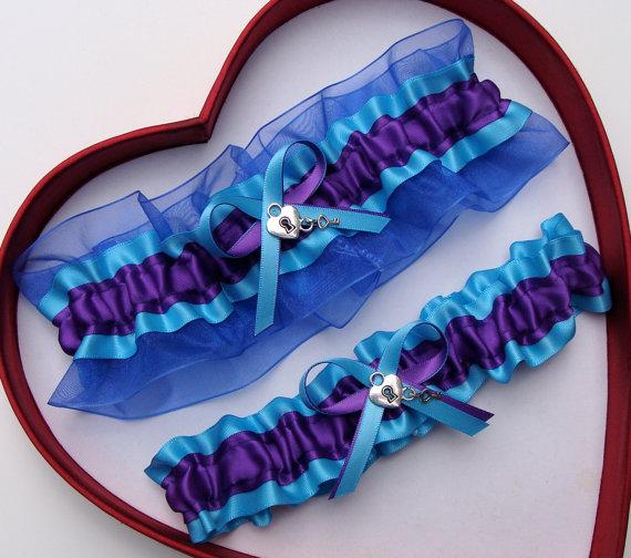 Wedding - New Purple Turquoise Royal Blue Wedding Garter Prom GetTheGoodStuff
