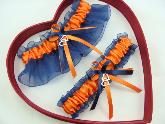 Wedding - New Wedding Garters Orange Navy Blue