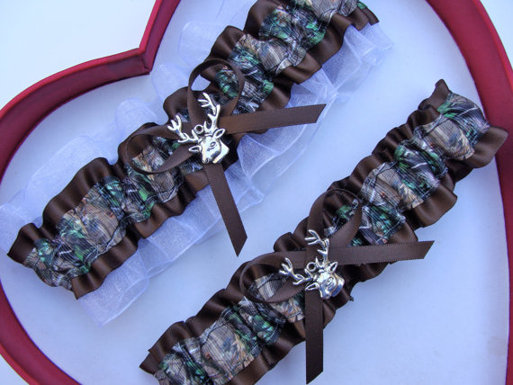 Wedding - New Brown White Mossy Oak Camouflage Camo Wedding Garter Hunting Deer Hunter Chick Prom GetTheGoodStuff